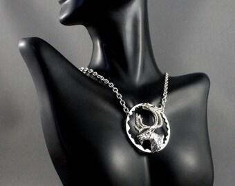 Silver deer necklace. Deer pendant.Wildlife jewelry