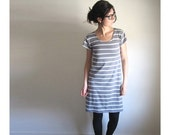 Grey Stripe Tunic Dress,  Bamboo Jersey, Tee Shirt, Summer Dress, Womens Clothing, Scoop Neck Sundress, Short Sleeve Dress