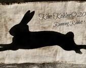 Running Rabbit Mylar Paint Stencil Primitive Vintage Style Easter Original Design OFG