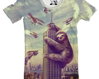Sloths, Slothzilla, Men's Tee, Sloth shirt, T-Shirt, Mens Funny Shirts, For Guys, Available S M L XL 2XL