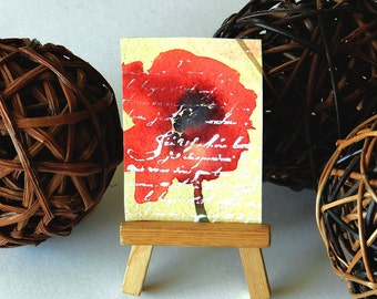 ACEO Red Poppy, Poppy Love Letter, Remembrance, Birthday, Watercolor Original Painting, Tiny Art, Made in USA