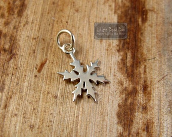 Silver Snowflake Charm, .925 Sterling Silver Pendant, Winter Charm for Making Jewelry, Charm Necklace, Bracelet (CH-1054)