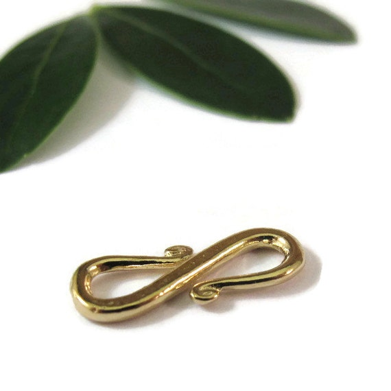 Gold S Clasp, Gold Plate over Sterling Silver Hook Clasp, One (1) Vermeil Clasp, Gold Findings, Jewelry Supplies (F-6420gpa)