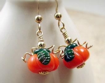 Pumpkin Earrings - Glass Beads Gold Filled Halloween Thanksgiving Earrings