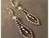 Stunning, 1950s Rhinestone Drop Earrings, Converted to Pierced, Dramatic, Bridal, Wedding