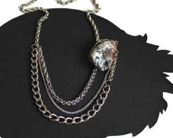 Crystal Cave Geode & Chain Necklace that Rocks