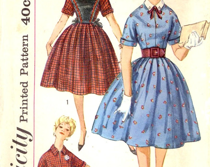 60s Rockabilly dress vintage sewing pattern Simplicity 3594 June cleaver style Bust 33 Junior