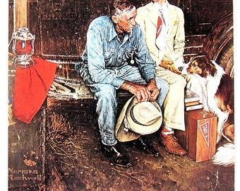 Norman Rockwell Print - Breaking Home Ties - Vintage1978 Book Page- 9 x 11
