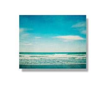 Beach photo canvas art, teal, ocean, white, turquoise, Pacific Ocean, summer wall art, ready to hang canvas gallery wrap - The Teal Ocean