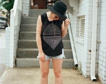 Tshirt for women - cap sleeve t shirt - geometric triangle print on jet black a-line cotton tops - modern fashion - Rule of Thirds