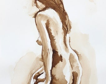 Female Looking Left- Original Ink Wash Figure Drawing