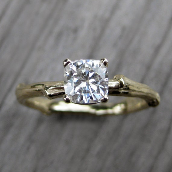 Cushion Moissanite Branch Engagement Ring: Yellow, White or Rose Gold; Forever One™