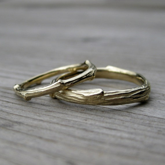 Twig Wedding Band Set: White, Yellow, or Rose Gold; Set of Two Rings