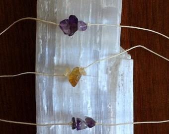 Amethyst Crystal Cluster Hemp Destiny Wish Bracelet