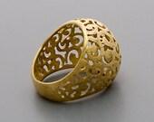 Gold Ring, Filigree Ring, Cocktail Ring, Victorian Ring, Gold Statement Ring, Gold Ring Boho, Vintage Style Ring, Large Ring, ethnic ring
