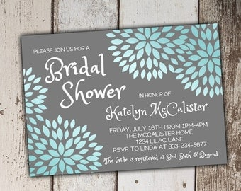 Blue and Grey/Gray Bridal Shower Invitations - Blossoms - print yourself