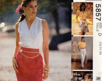 UNCUT Vintage McCall's Pattern 5857 - Sew News Misses Skirt, Pants and Shorts - 12-16