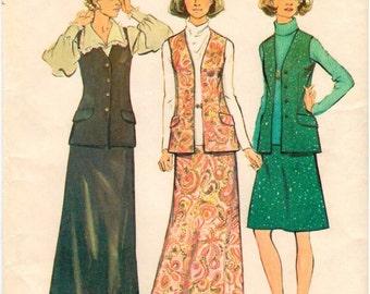 Vintage UNCUT Simplicity Look Slimmer Pattern 6040 - Misses Skirt and Vest - Size 14.5