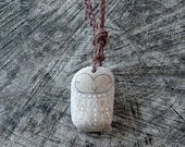 Beach Pottery Owl Necklace - Long Braided Necklace with Beach Pottery Owl