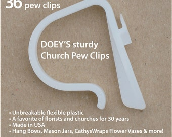 Doeys Pew Bow Clips secure heavy Wedding Ceremony Pew Decorations to Church Pews & Reception Table. Bows, Flowers, Mason Jars, 36 Pew Hooks