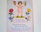 Page de livre original vintage. Les roses sont rouge illustration. Format a5. Impression parfaite pépinière