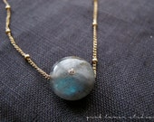 Labradorite Necklace with White Topaz on Gold Station Chain