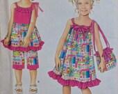 DAISY KINGDOM Sewing Pattern - Girls Summer Dress Top Capri Pants Purse - OOP