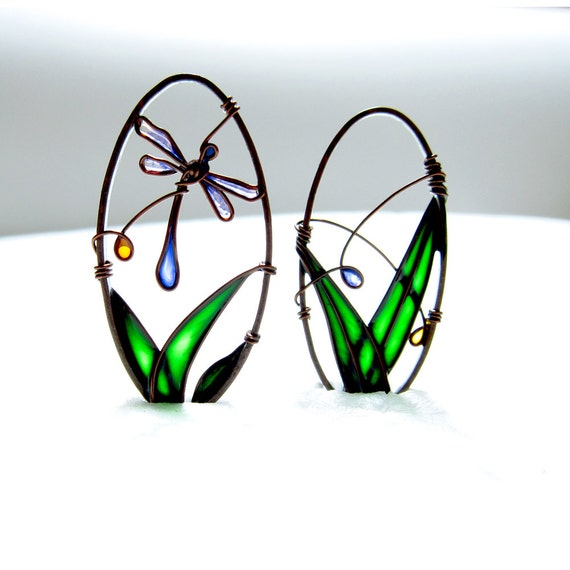 Blue Dragonfly Earrings. Copper Earrings. Oval Earrings. Dragonfly Jewelry. Green Earrings. Copper Jewelry. Colorful Jewelry. Unique Earring