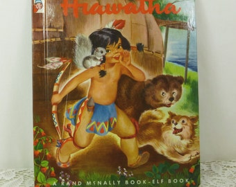 Hiawatha by Marion E Gridley, 1950 First Issue Rand McNally Elf Book, Printing Imperfection Point of Issue