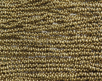 4x2mm SILKY Dutch Gold Czech Glass Farfalle Seed Bead Strand (AW91)
