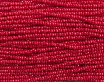 6/0 Opaque Medium Red Czech Glass Seed Bead Strand (CW125)