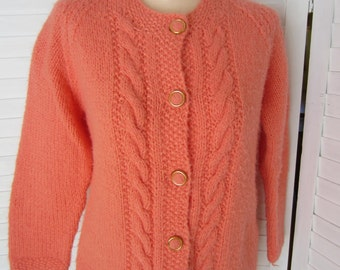 Cardigan Sweater, Coral Orange Mohair - Size M