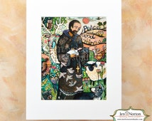 Saint Francis with Animals Folk Style Biblical Wall Art Print, Peace and all good things