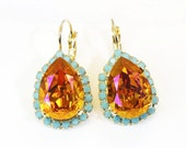 Pink Orange Turquoise Earrings Aqua Blue Earrings Chandelier Drop Crystal teardrop Halo earrings Swarovski rhinestones Gold finish,GE101
