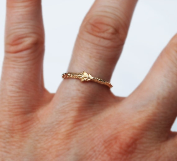 One of a Kind 14k Solid Gold Tiny Sprout Ring