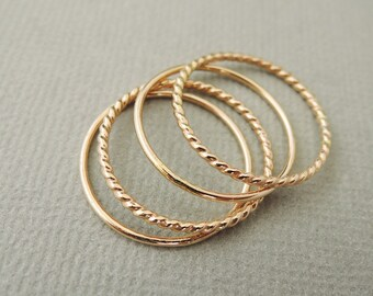 Thin Gold Rings 4 stacking rings knuckle ring, midi ring, thumb ring
