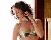 Florodora Girl silk bra with vintage details & gold lace