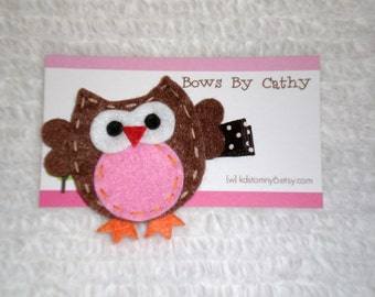 Owl Felt Hair Clip - Brown and Pink Owl Hair Clip