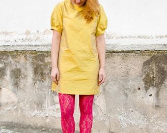 Yellow Mini Dress, Silk Taffeta Mod Aline Dress, Party Colorful Dress