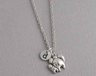 Personalized Elephant Charm Necklace, Personalized Initial Jewelry, mother/child necklace
