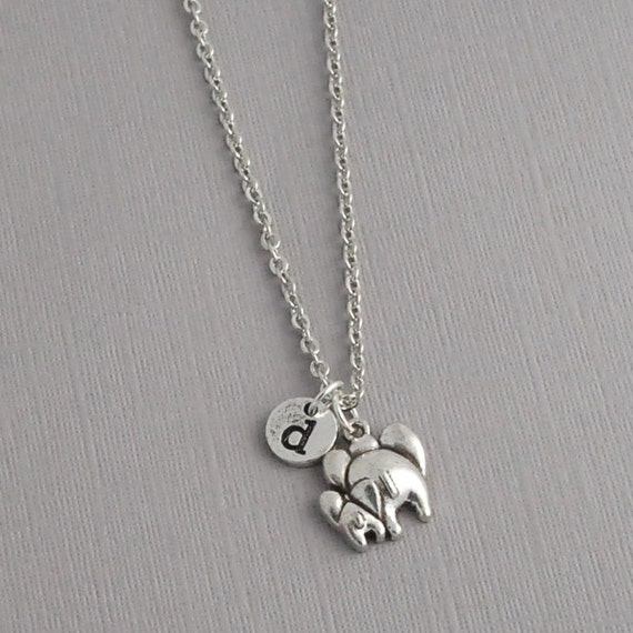 personalized elephant charm necklace personalized initial