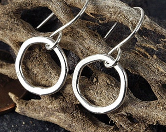 tiny sterling silver hoop earrings with handmade fine silver hoops: simple hoop earrings, tribal jewelry, small hammered silver earrings