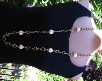 Long Chain Cream Glass Pearl Necklace