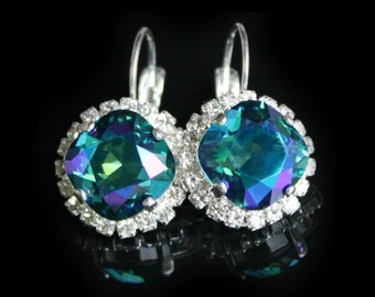New Color! Indicolite Glacier Blue Swarovski Crystals with Halo Crystals on Silver Leverback Earrings