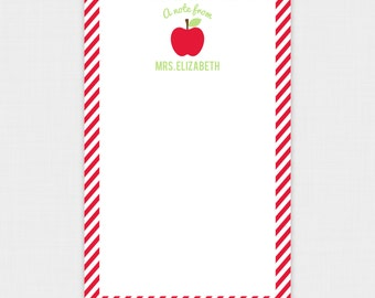 Personalized Teacher Notepad - Apple Teacher Notepad