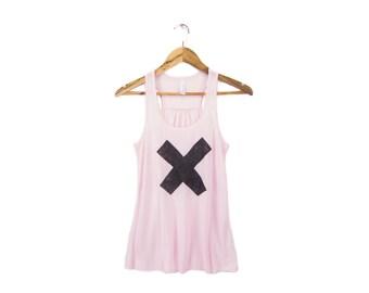 SAMPLE SALE - X Marks the Spot Tank - Scoop Neck Racerback Swing Tank Top in Powder Pink - Women's Size M Q