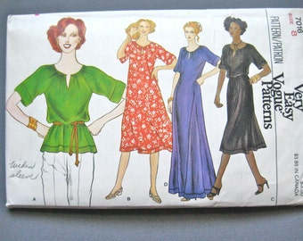 1970s Gown Pattern Vintage 70s Vogue One-Piece Dress and Top Sewing Pattern Vogue 7016  Bust 31.5 inches
