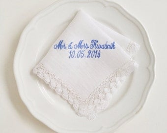 Lacey Bridal Handkerchief - custom embroidered, monogrammed, something blue