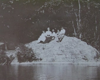 Family Sitting on Large Rock by River Shore - Fancy Clothes - Hats - Antique Cabinet Photo - 1908