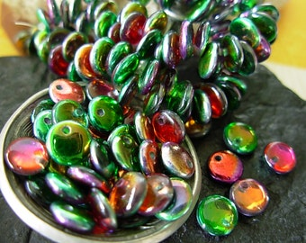 6mm Czech Lentil Glass Beads- Coated- Marea Peacock/ Gold (50)
